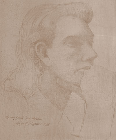 Sketch of Daniel Thomas Moran by August Mosca. Circa 1993.